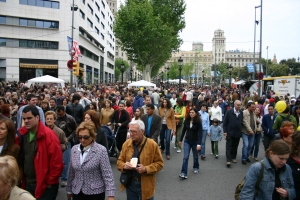 Spain.Barcelona.Diada.Sant.Jordi.Plaza.Catalunya.